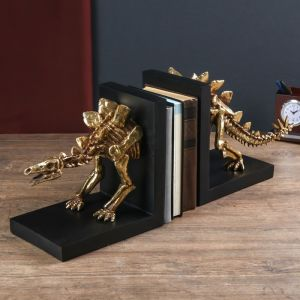 """Держатели для книг """"Скелет динозавра"""" набор 2 шт золото 24х58х15 см   4641735"""