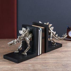 "Держатели для книг ""Скелет динозавра"" набор 2 шт серебро 24х58х15 см   4641734"