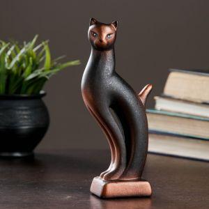 """Фигура """"Кошка Рысь"""" чёрная с медью 6 ? 5 ? 21 см 082 729074"""