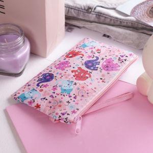 """Кошелёк детский """"Слоны"""", 1 отдел на молнии, с ручкой, цвет розовый"""