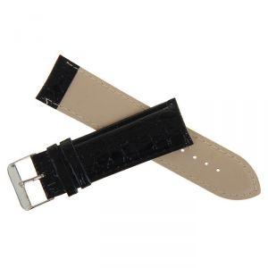 Ремешок для часов, 24мм, лакированная кожа, фактура жатка, черный, 20см 1268507
