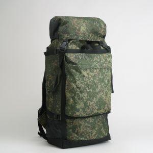 Рюкзак туристический, отдел на шнурке, 3 наружных кармана, объём - 50л, цвет хаки