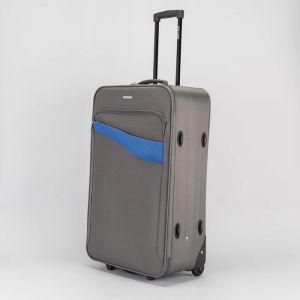"""Чемодан большой 28"""", отдел на молнии, наружный карман, кодовый замок, 2 колеса, цвет серый"""