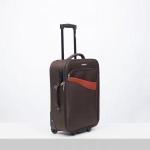"""Чемодан малый 20"""", отдел на молнии, наружный карман, кодовый замок, 2 колеса, цвет коричневый"""