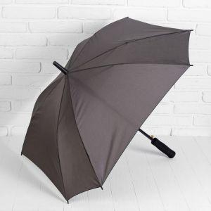 Зонт полуавтоматический «Однотонный», прорезиненная ручка, 8 спиц, R = 52 см, цвет серый
