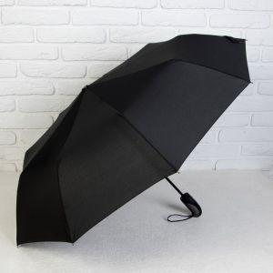 Зонт автоматический, 3 сложения, 9 спиц, R = 49 см, цвет чёрный