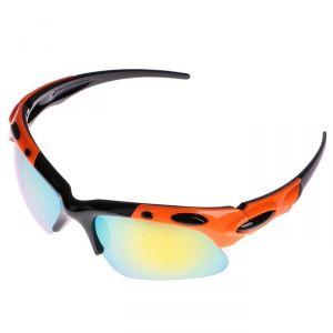 Очки спортивные, линзы зеркальные, дужки оранжево-чёрные, uv 400, микс, 17х15х4.5 см 3241536