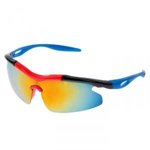 Очки спортивные, линзы под углом, зеркальные, оправа чёрно-красная, дужки синие, 14х5.5 см 2761145