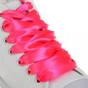 Шнурки для обуви, пара, атласные, плоские, 20 мм, 110 см, цвет розовый неоновый