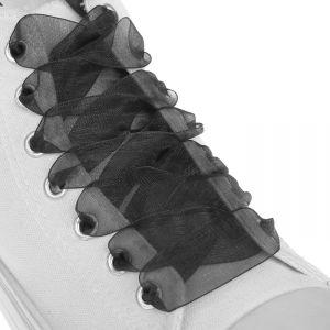 Шнурки для обуви, пара, капроновые, плоские, 20 мм, 110 см, цвет чёрный