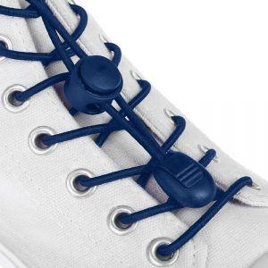 Шнурки для обуви, пара, круглые, с фиксатором, эластичные d = 3 мм, 100 см, цвет синий