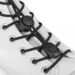 Шнурки для обуви, пара, круглые, с фиксатором, эластичные, d = 3 мм, 100 см, цвет чёрный