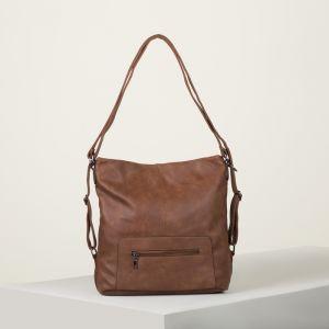 Сумка-рюкзак, отдел с перегородкой на молнии, 2 наружных кармана, цвет рыжий