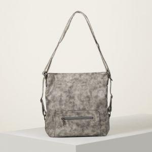 Сумка-рюкзак, отдел с перегородкой на молнии, 2 наружных кармана, цвет серый