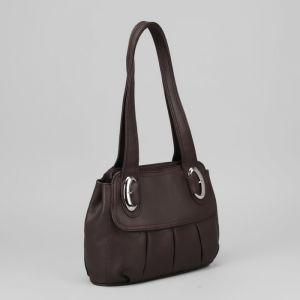 Сумка женская, отдел на молнии, наружный карман, цвет тёмно-коричневый