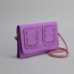 Клатч женский, 3 отдела на молнии, 2 наружных кармана, длинный ремень, цвет фиолетовый