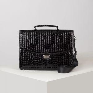 Портфель, 5 отделов на клапане, 3 наружных кармана, длинный ремень, цвет чёрный