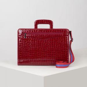 Портфель, 5 отделов на молнии, отдел для планшета, 2 наружных кармана, длинный ремень, цвет тёмно-красный