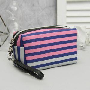Косметичка дорожная, отдел на молнии, с ручкой, цвет синий/розовый