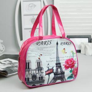 Косметичка-сумочка, отдел на молнии, ручки, цвет малиновый