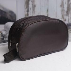 Косметичка дорожная, 2 отдела на молниях, с ручкой, цвет коричневый