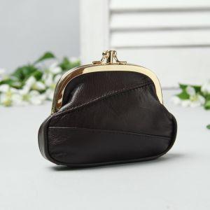 Косметичка-фермуар, натуральная кожа, 2 отдела на фермуаре, наружный карман, цвет чёрный