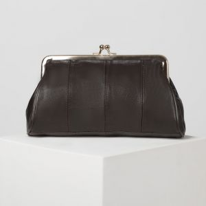 Косметичка-фермуар, отдел на рамке, наружный карман, цвет чёрный