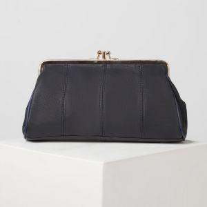 Косметичка-фермуар, 2 отдела на рамке, наружный карман, цвет синий