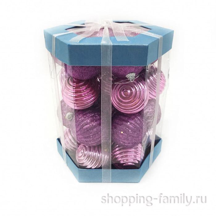 Набор елочных игрушек Шары 6 см, 28 шт. Цвет Светло-розовый