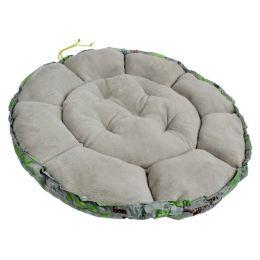 Лежанка для собак и кошек круглая с мехом Хвостел Грин Грей