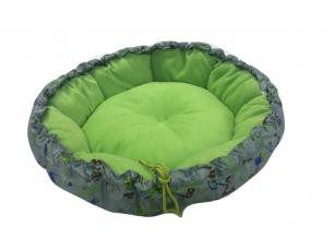 Лежанка для собак и кошек круглая Хвостел Грин Грей флис