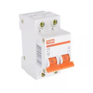Выключатель автоматический TDM ВА47-63, 2п, 16 А, 4.5 кА 1890622