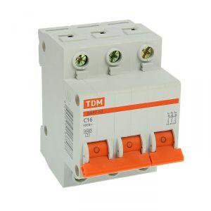 Выключатель автоматический TDM ВА47-63, 3п, 16 А, 4.5 кА 2114234