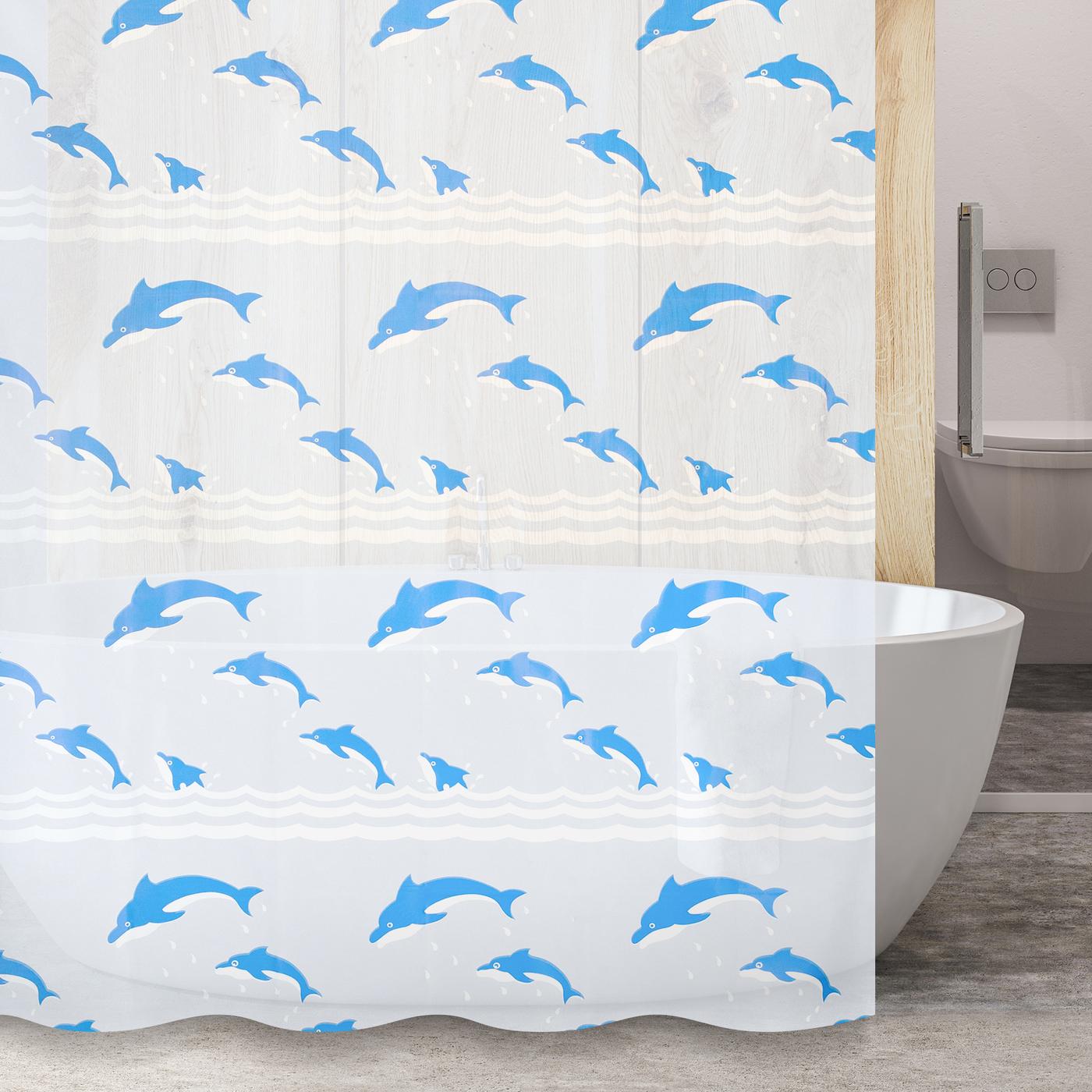 Шторка для ванной YL-41 прыгающие дельфины