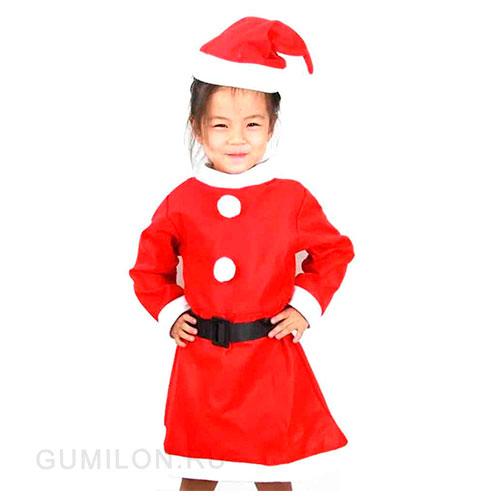 Красный костюм снегурочки для девочки 6-9 лет