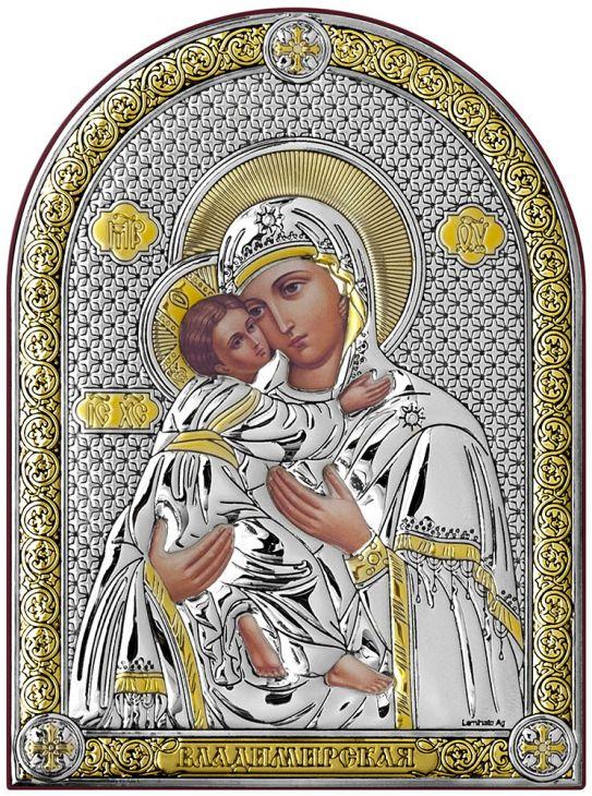 Серебряная Владимирская икона Божией Матери (Италия)