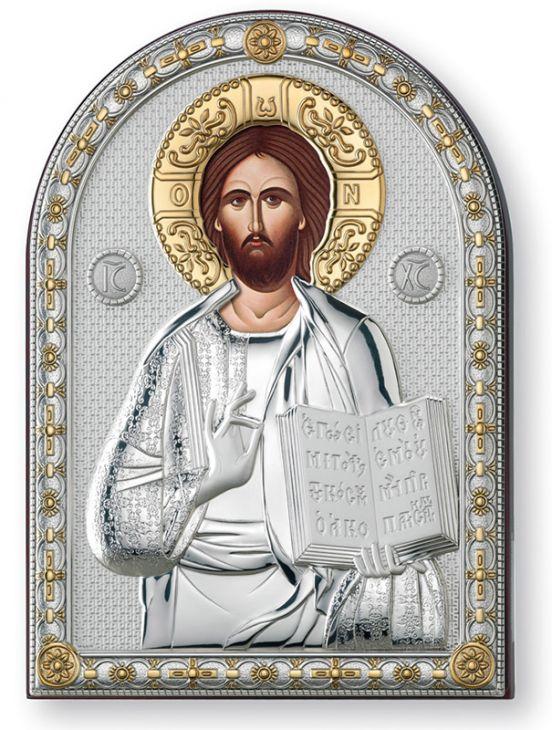 Серебряная икона Иисус Христос Спас Вседержитель (Италия, 13х18 см)