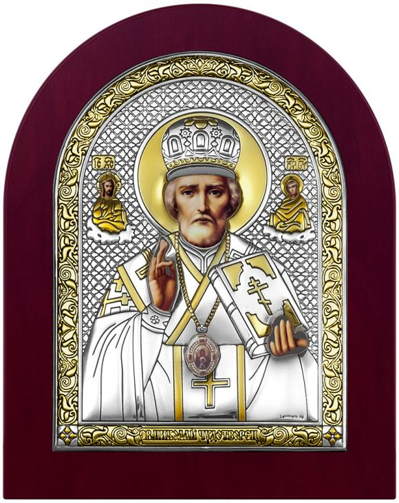Серебряная икона Николай Угодник (Италия)
