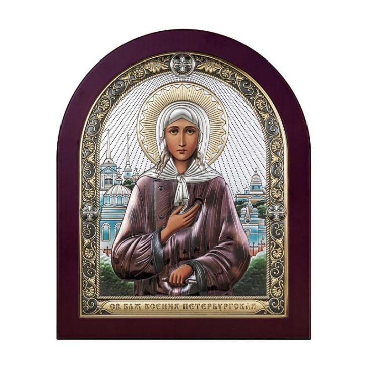 Серебряная икона Святая Ксения Петербургская (Италия)