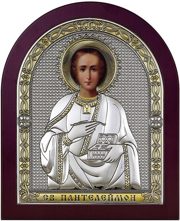 Серебряная икона Святой Пантелеймон (Италия)