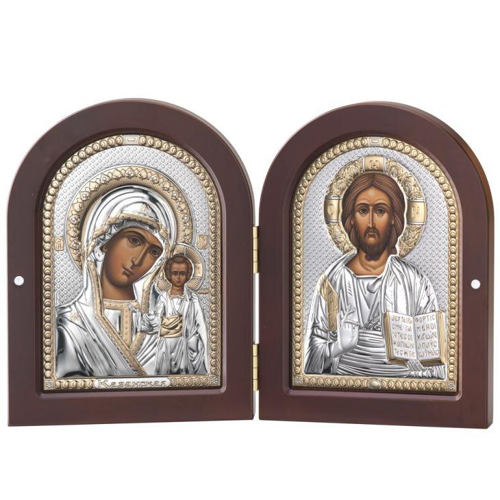 Складень Казанская Икона и Спаситель (Италия, 15х20 см.)