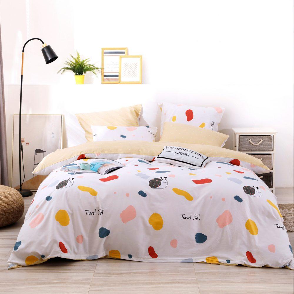 Комплект постельного белья Делюкс 2 спальный Сатин L208
