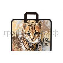 Папка А4+ ErichKrause Wild Cat на молнии с ручками 48704