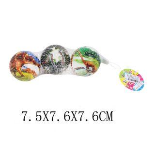 Мяч Динозавры, 7,5см, 3шт., сетка