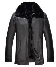 "Зимняя мужская кожаная куртка ""Оттава"" черная"