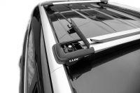 Багажник на рейлинги Lada Largus, Lux Hunter, серебристый, крыловидные аэродуги