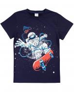 """Футболка для мальчиков 8-12 лет Bonito """"Astronaut"""" темно-синяя"""