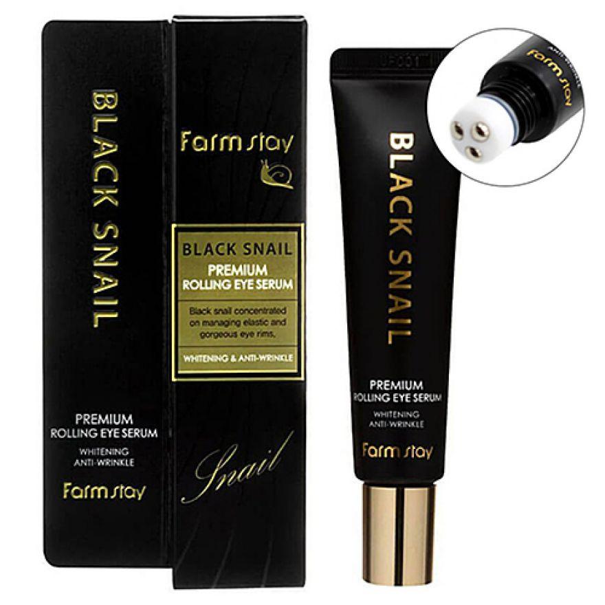 Сыворотка-роллер с муцином черной улитки для век FARMSTAY Black Snail Premium Rolling Eye Serum 25ml