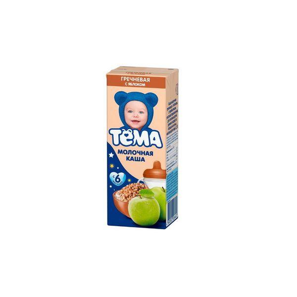 Каша Тема жидкая молочная гречневая/яблоко 206г