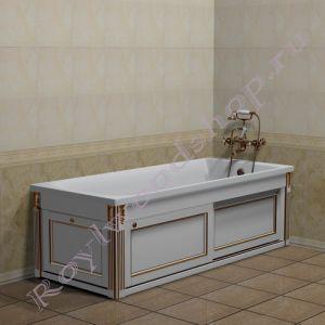 """Экран для ванны """"Руссильон PROVENCE раздвижной, белое золото"""""""